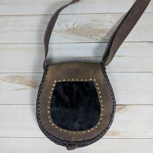 Leather and Cowhide Whipstitch Crossbody Bag